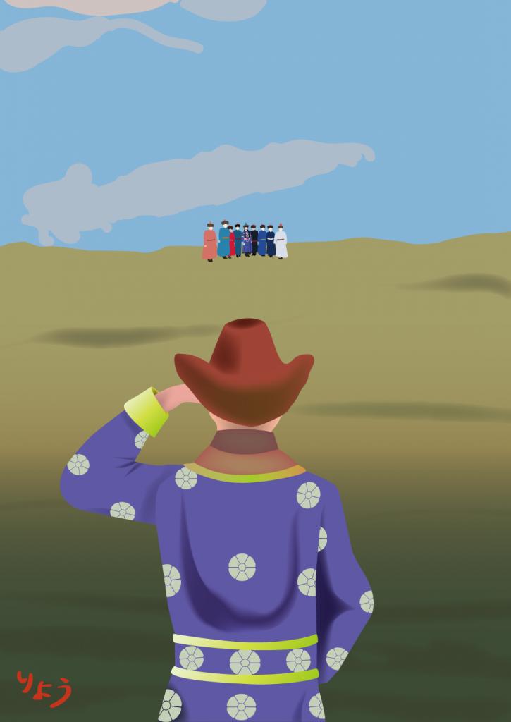 モンゴルの草原にて:ベクタ画像上で宝探し