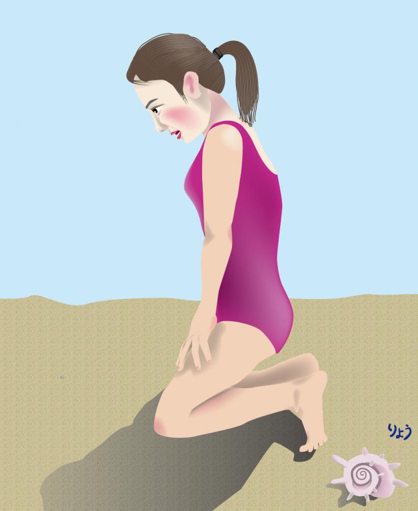 砂浜でコンタクトレンズを落とした女子高生