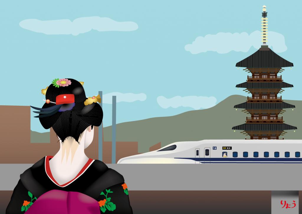 新幹線で京都に帰ってきた舞妓さん