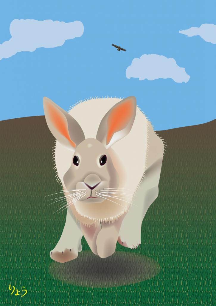 天敵から逃げるウサギ (A rabbit running away from a natural enemy)